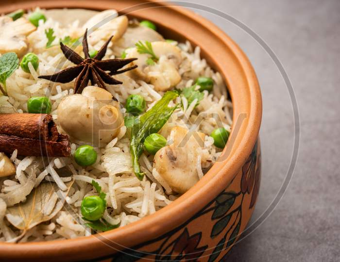 Mushroom Pulao Or Biryani Is An Indian Recipe Using Basmati Rice, It'S A One Pot Meal