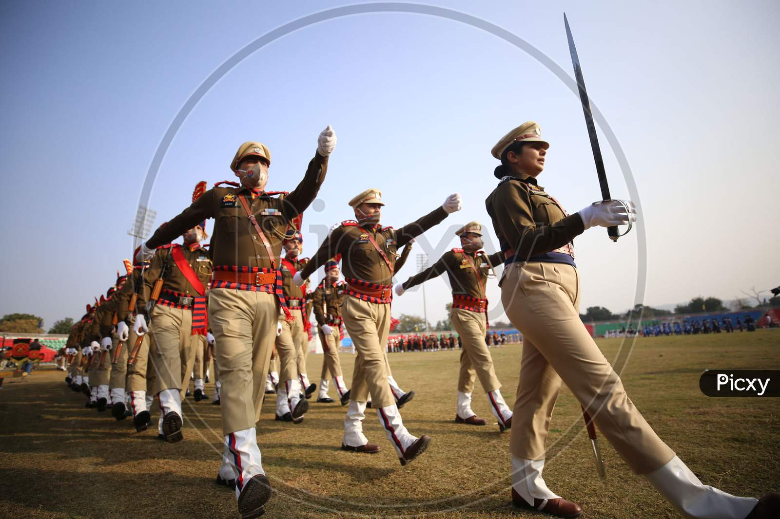 Home guard contingent during the full dress rehearsals for the Republic Day parade at Molana Azad Stadium in Jammu on Sunday.24 Jan,2021.