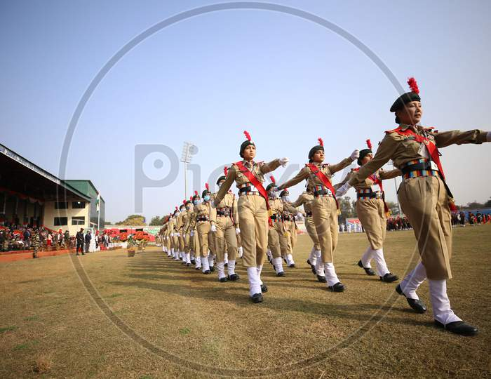 NCC contingent during the full dress rehearsals for the Republic Day parade at Molana Azad Stadium in Jammu on Sunday.24 Jan,2021.