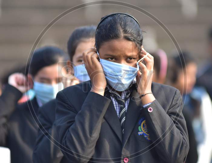 :A students wearing mask during the full dress rehearsals for the Republic Day parade in Nagaon District of Assam on Jan 24,2021.