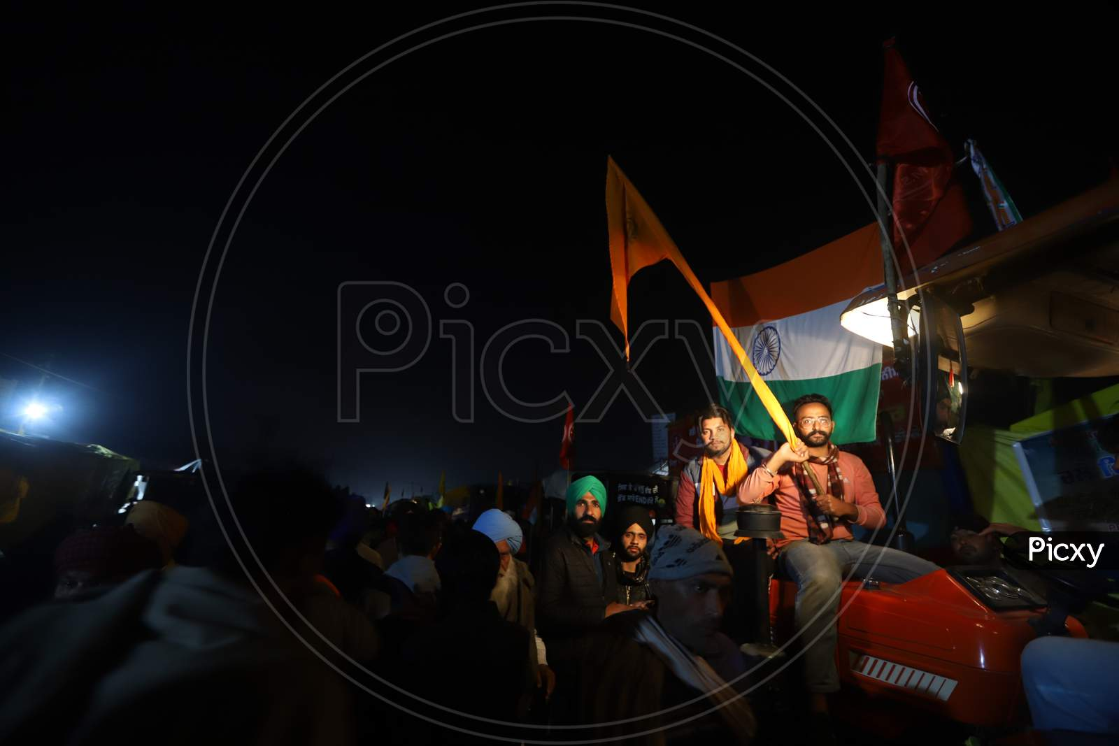 Farmers gearing up for Republic Day tractor rally as a part of the ongoing agitation against new farm laws at Singhu Border, near New Delhi, India on January 25, 2021.