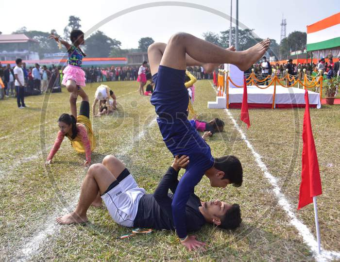 Artist perform Yogaon the occasion of 72nd Republic Day at Nurul Amin Stadium in Nagaon District of Assam on Jan 26,2021.