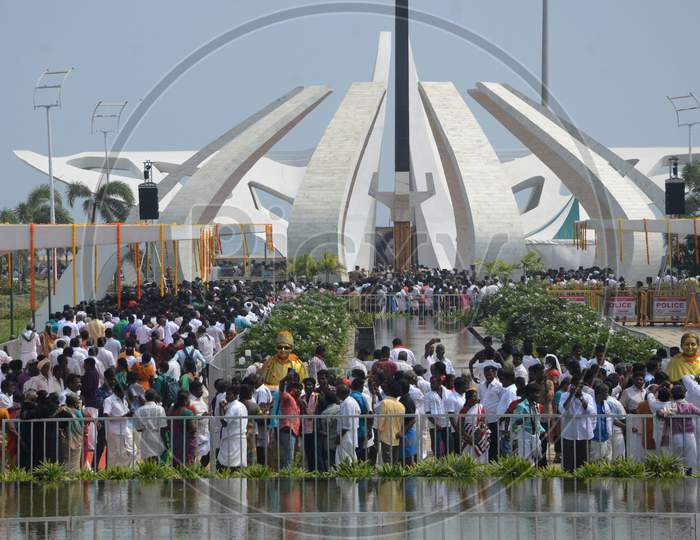 People Gather In Large Numbers During The Inauguration Of The Jayalalithaa Memorial, In Chennai, Wednesday
