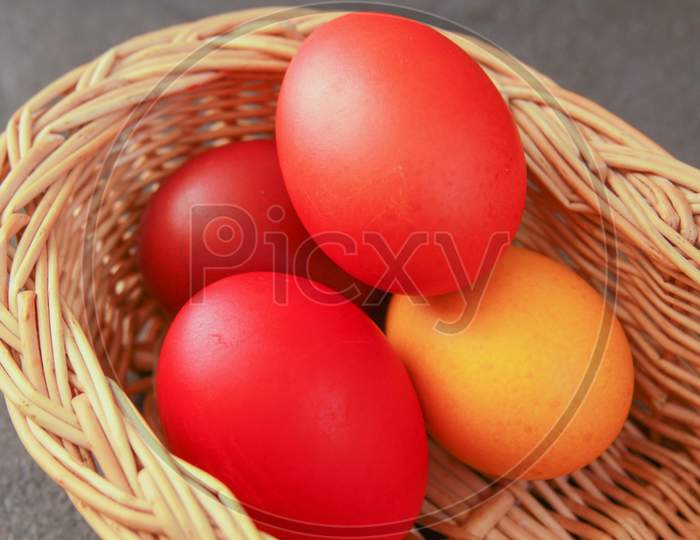 Easter Eggs In Basket Warm Colors