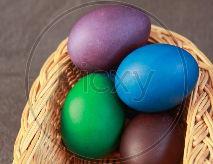 Easter Eggs In Basket Cold Colors