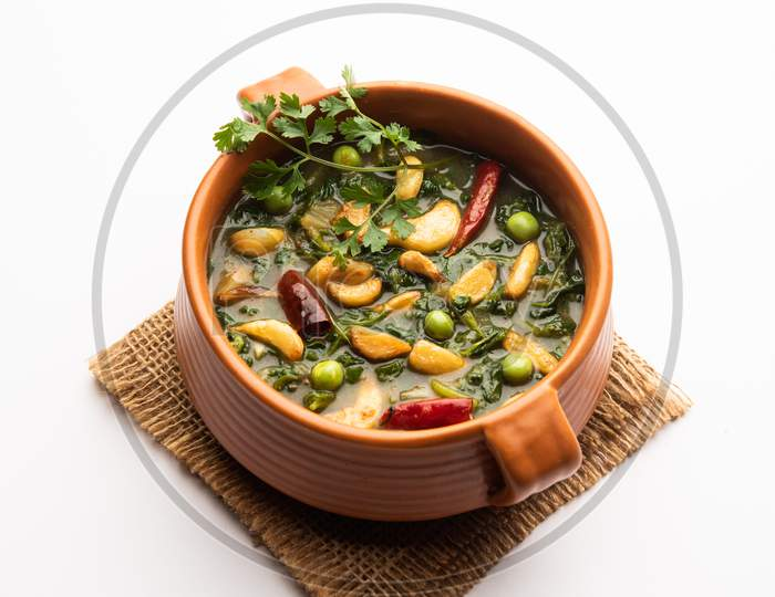 Fenugreek Leaves With Garlic Tempering Or Lasooni Or Lasuni Methi Sabzi