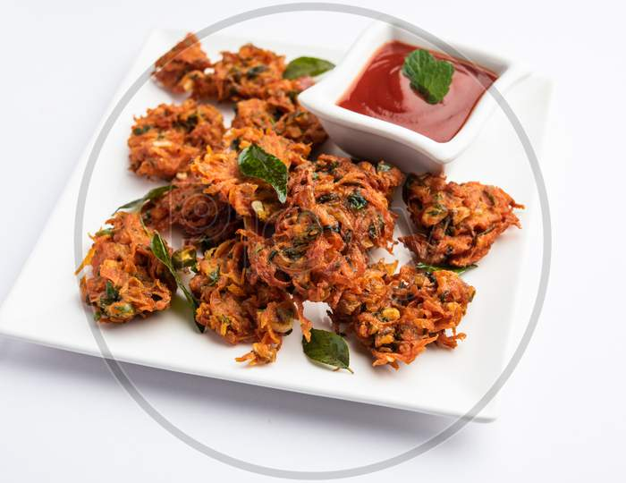 Tasty Gajar Ke Pakore Or Pakode Also Known As Carrot Fritters