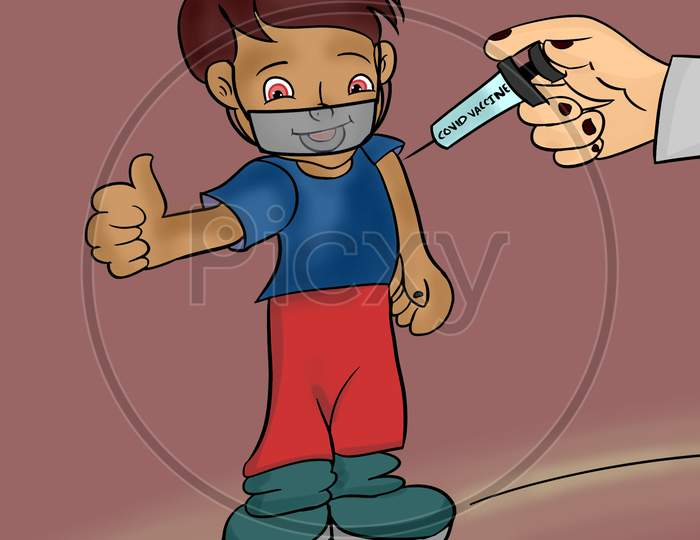 Happy Smiling Kid With Face Mask Getting Vaccinated And Showing Thumbs Up Gesture - Concept Of Childrens Coronavirus Covid 19 Vaccine Recommendation.