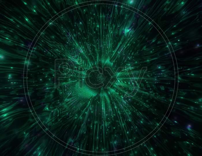 Dark Abstract Lights Effects Sci-Fi Tunnel 3D Illustration Background Wallpaper Design Artwork
