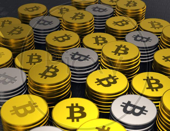 Gold And Silver Bitcoins, Crypto Currency, Closeup Shot Of Bitcoins With Nice Environmental Light Effects,Btc Currency, Business And Technology Concept, 4K High Quality .
