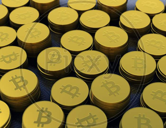 Gold Colored Bitcoins ,Crypto Currency, Bit Coin.Btc Currency, Business And Technology Concept, 4K High Quality .