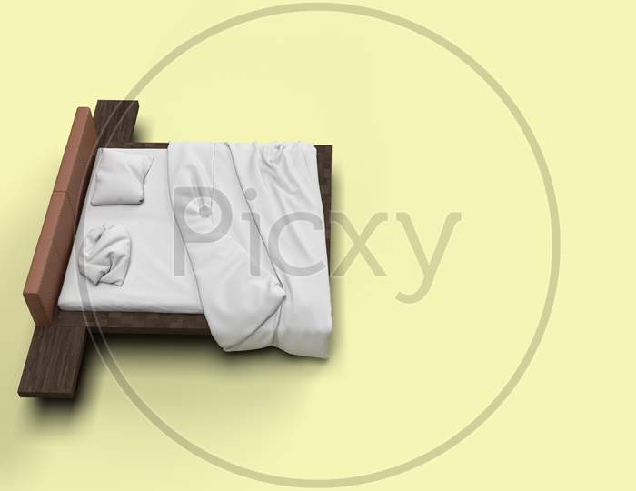 3D Render Top Side Angle View Of White Bed With White Pillow Cover And White Bed Sheet And Blanket For Mockup With A Pastel Yellow Background