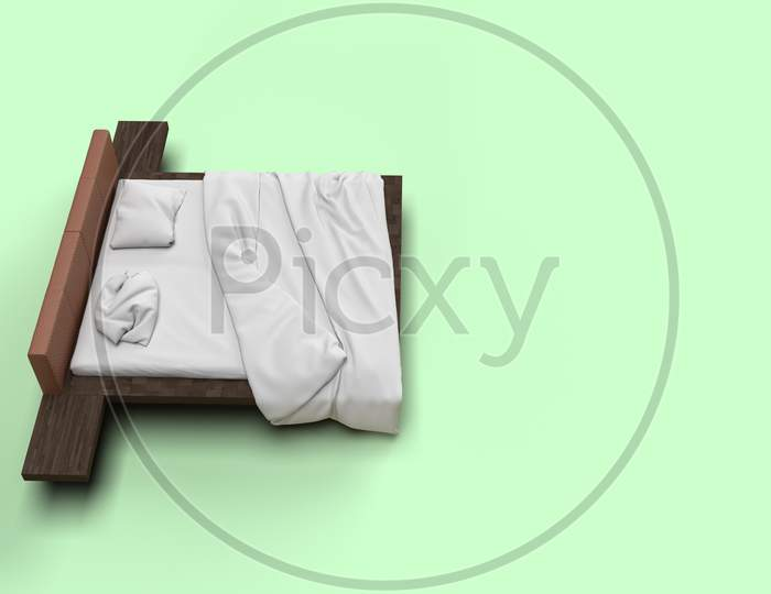 3D Render Top Side Angle View Of White Bed With White Pillow Cover And White Bed Sheet And Blanket For Mockup With A Pastel Green Background
