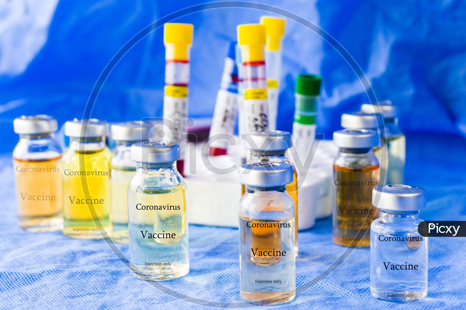 Corona Virus And Covid - 19 New Vaccine In Ampules And Blood Tube, Variations Of Vaccine