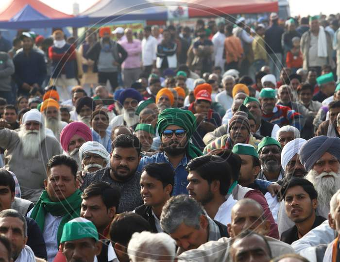 Farmers take part in a protest against the central government's recent agricultural reforms at Delhi-Uttar Pradesh state border in Ghaziabad on February 2, 2021