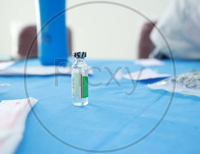 February 20, 2021, Kishanganj, Bihar, India. A Vial Of Covishield Vaccine On A Table For Vaccination Against Covid 19 At Mgm Medical College, Kishanganj, Bihar