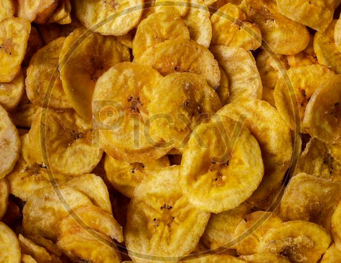 View Of Crispy Banana Chips. Common Indian Savory Item