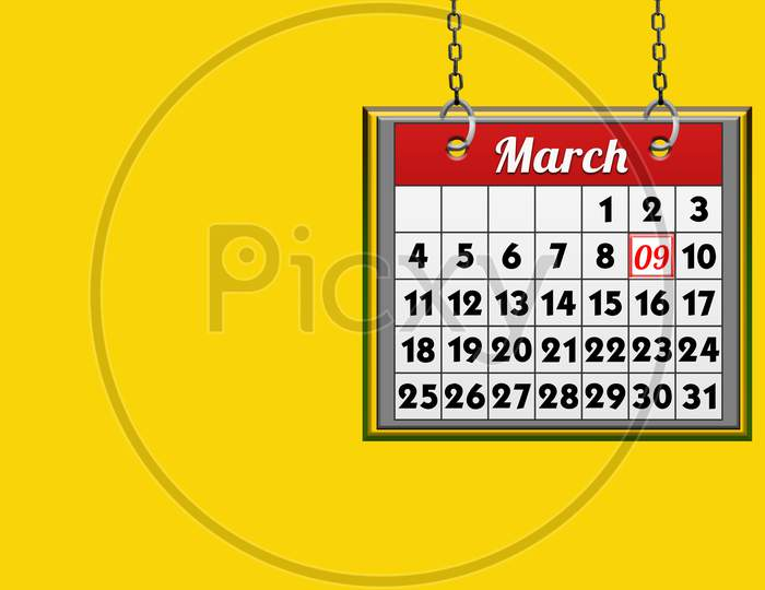 March 09 Calendar, On Yellow Background