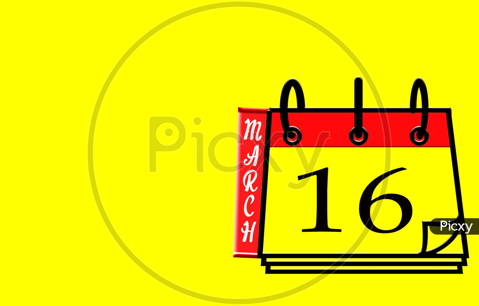 March 16, Calendar On Yellow Background