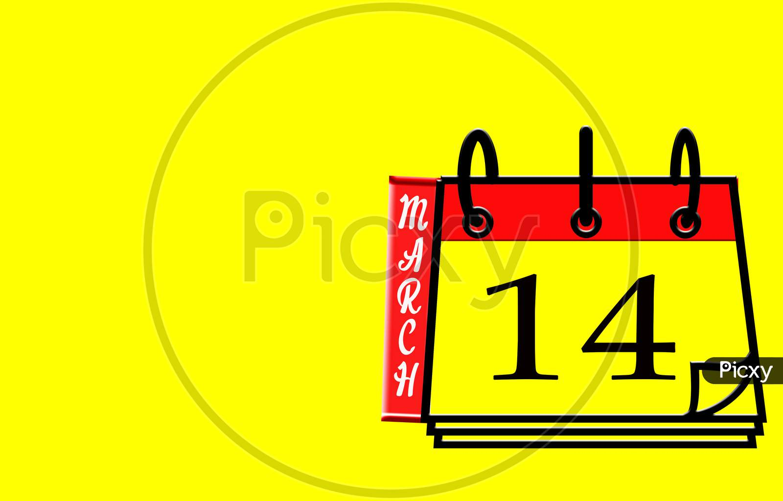 March 14, Calendar On Yellow Background