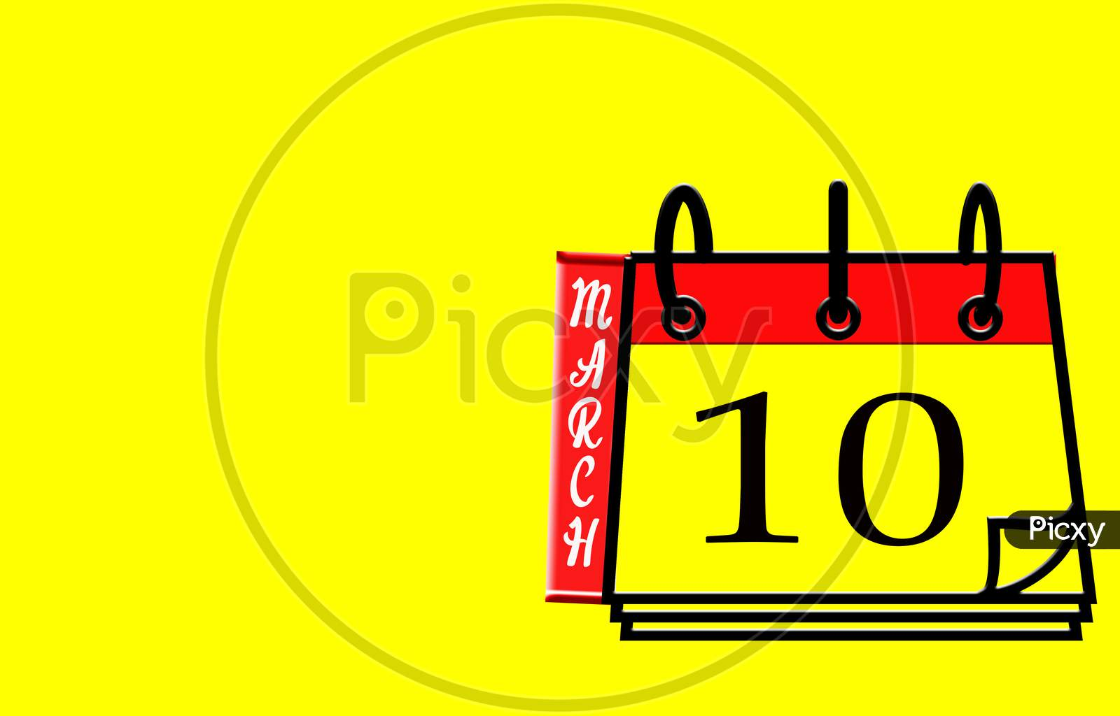 March 10, Calendar On Yellow Background