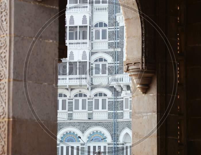 Hotel Taj Mahal Palace through an arch