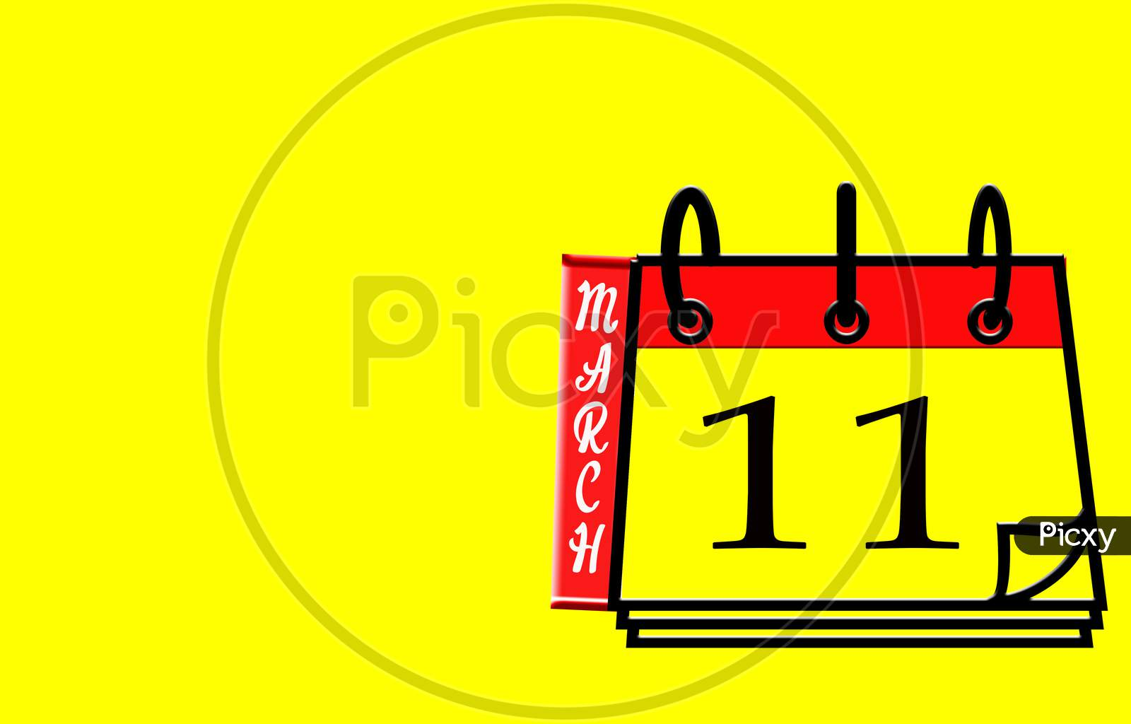 March 11, Calendar On Yellow Background