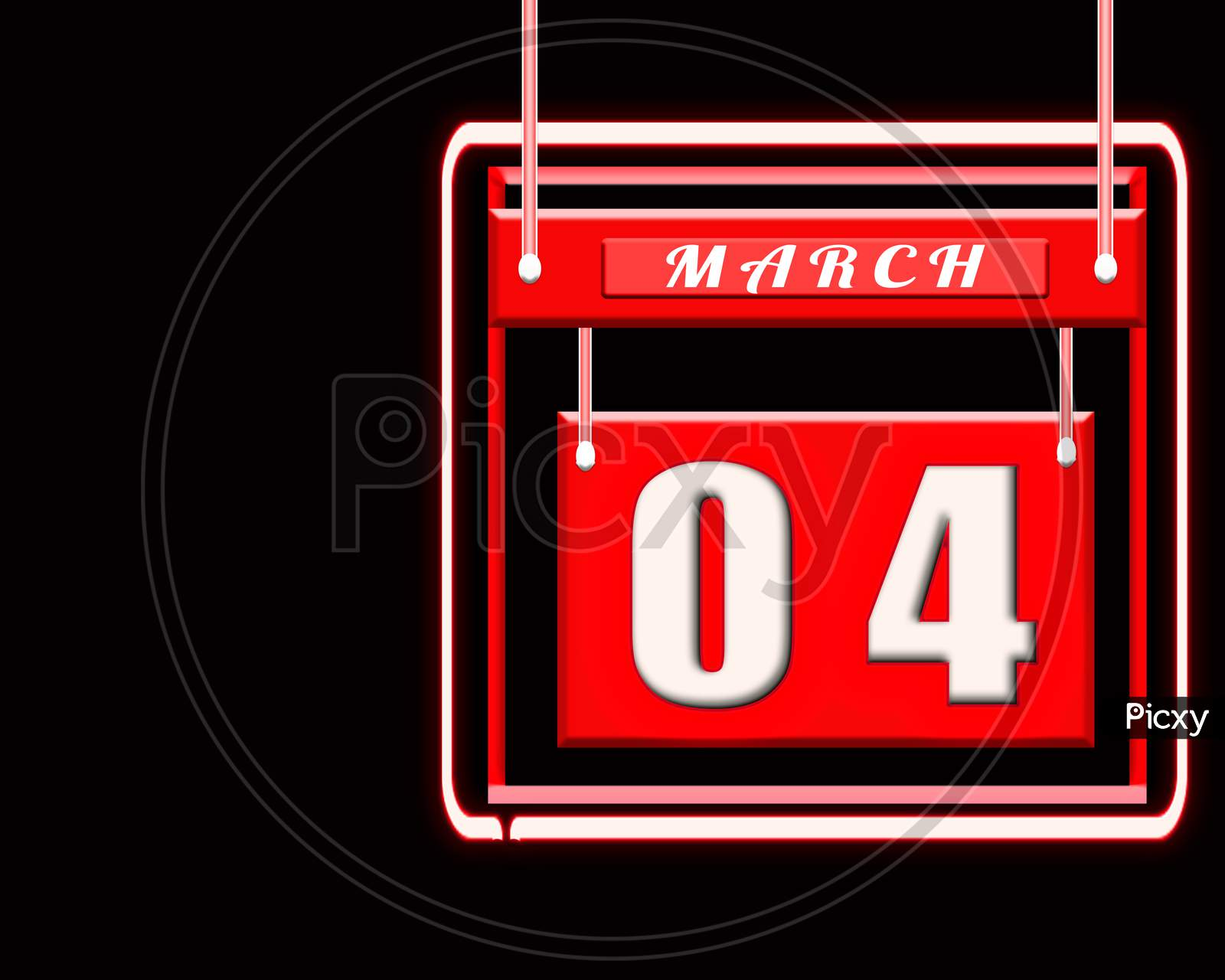 4 March, Red Calendar On Black Backgrand