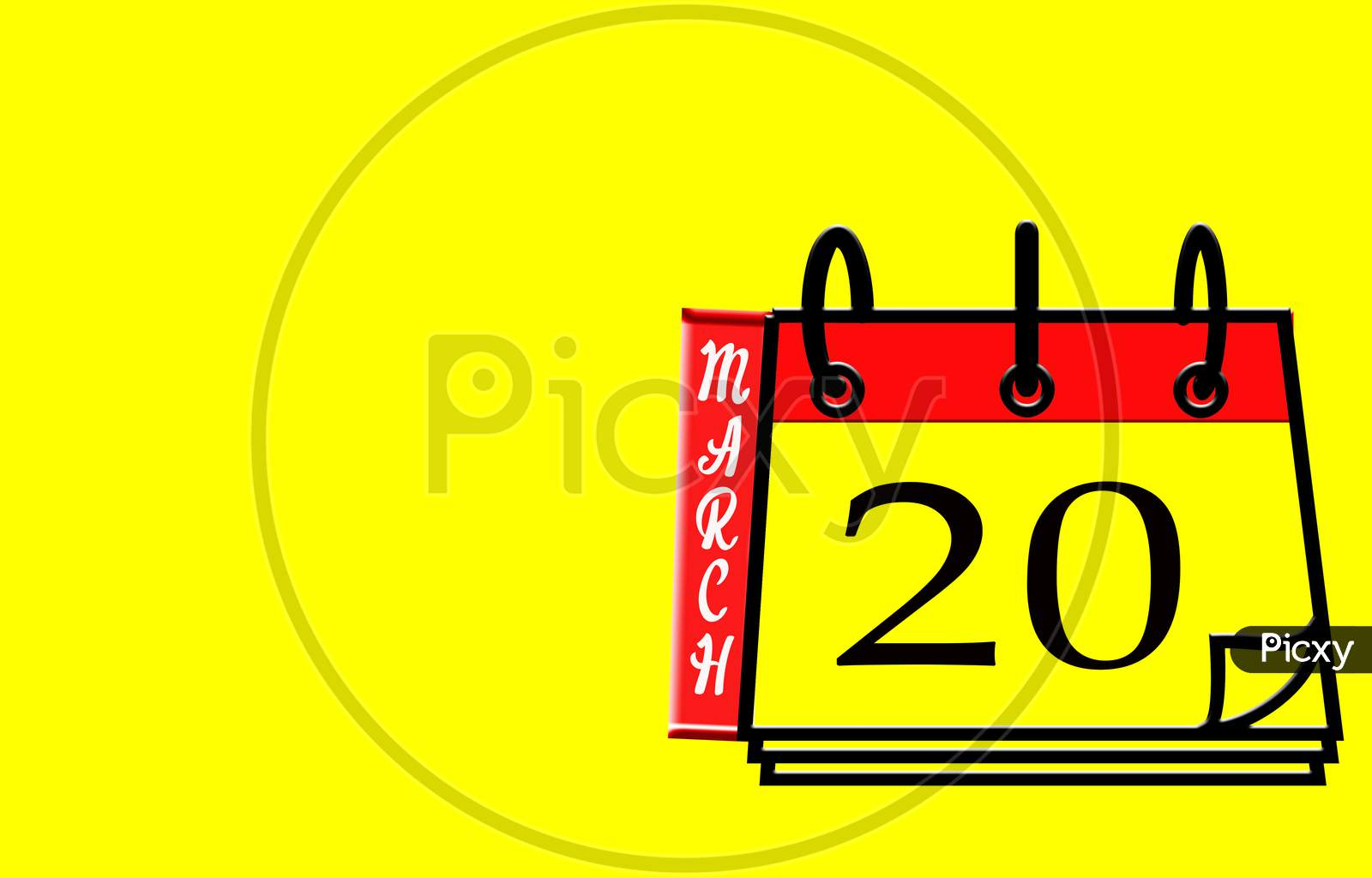 March 20, Calendar On Yellow Background