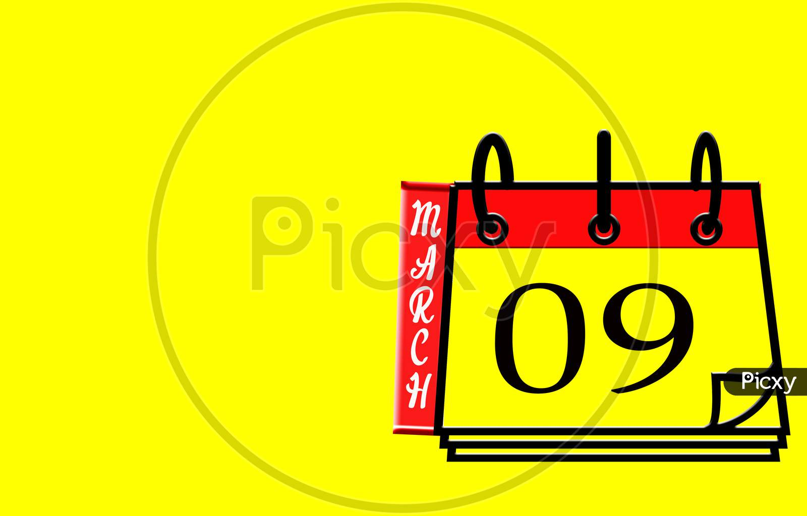 March 09, Calendar On Yellow Background