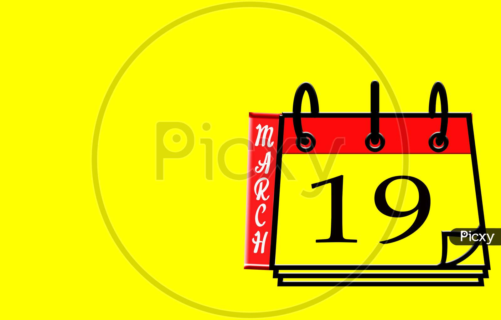 March 19, Calendar On Yellow Background
