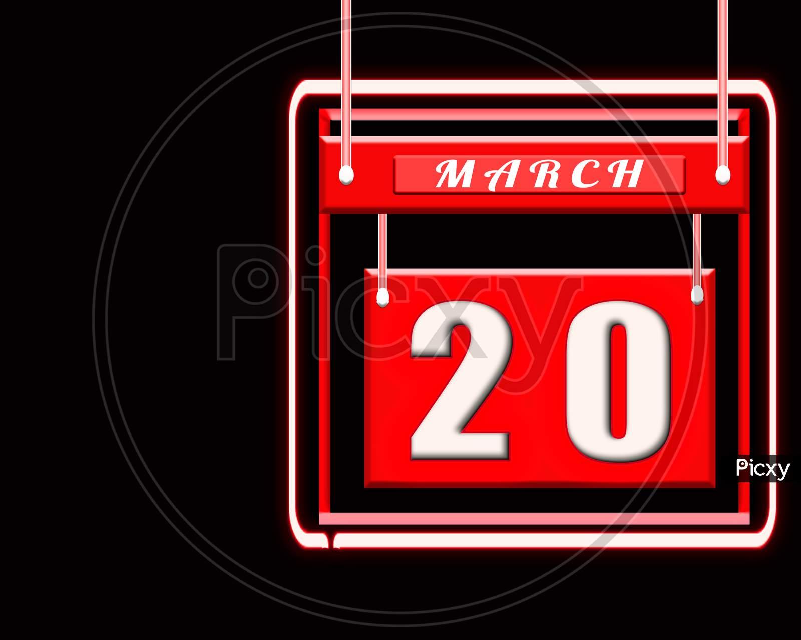 20 March, Red Calendar On Black Backgrand