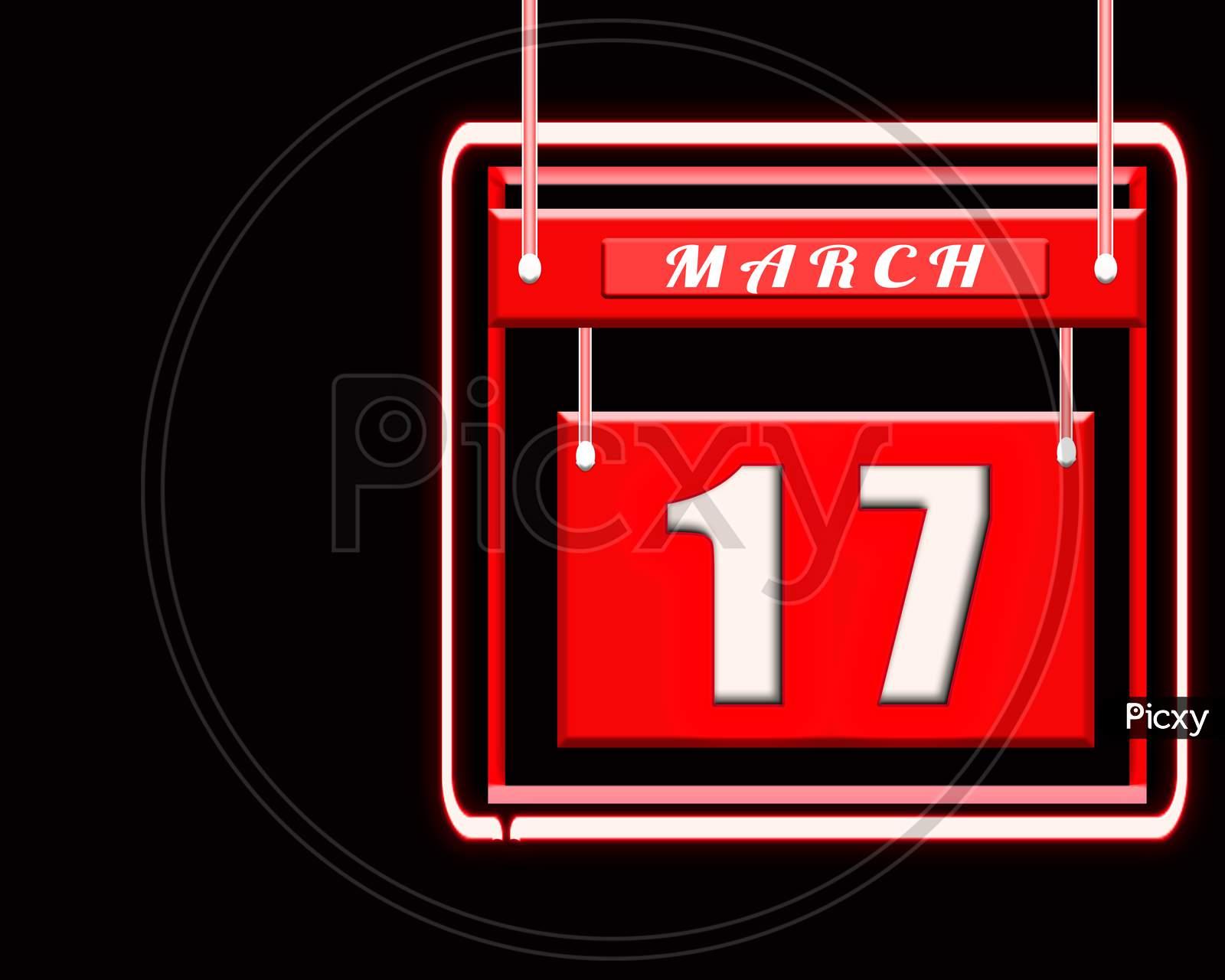 17 March, Red Calendar On Black Backgrand