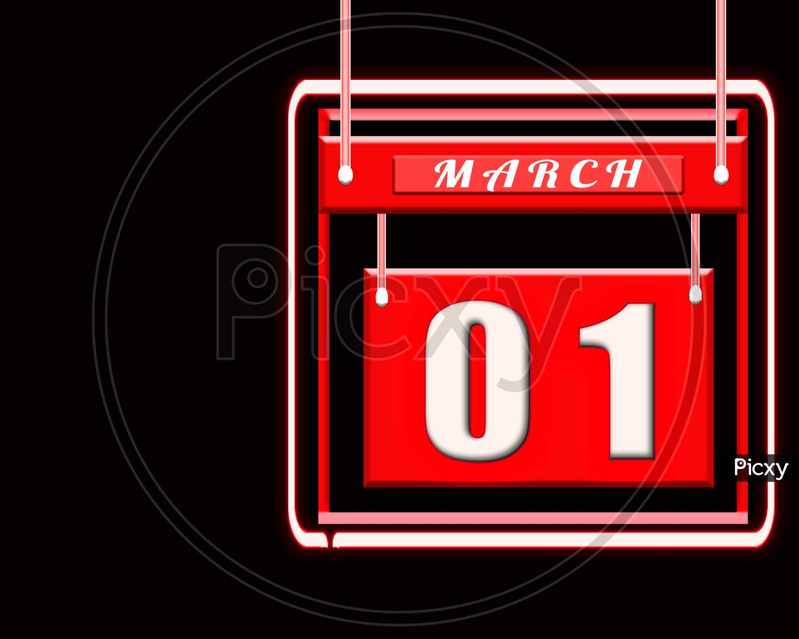 1 March, Red Calendar On Black Background