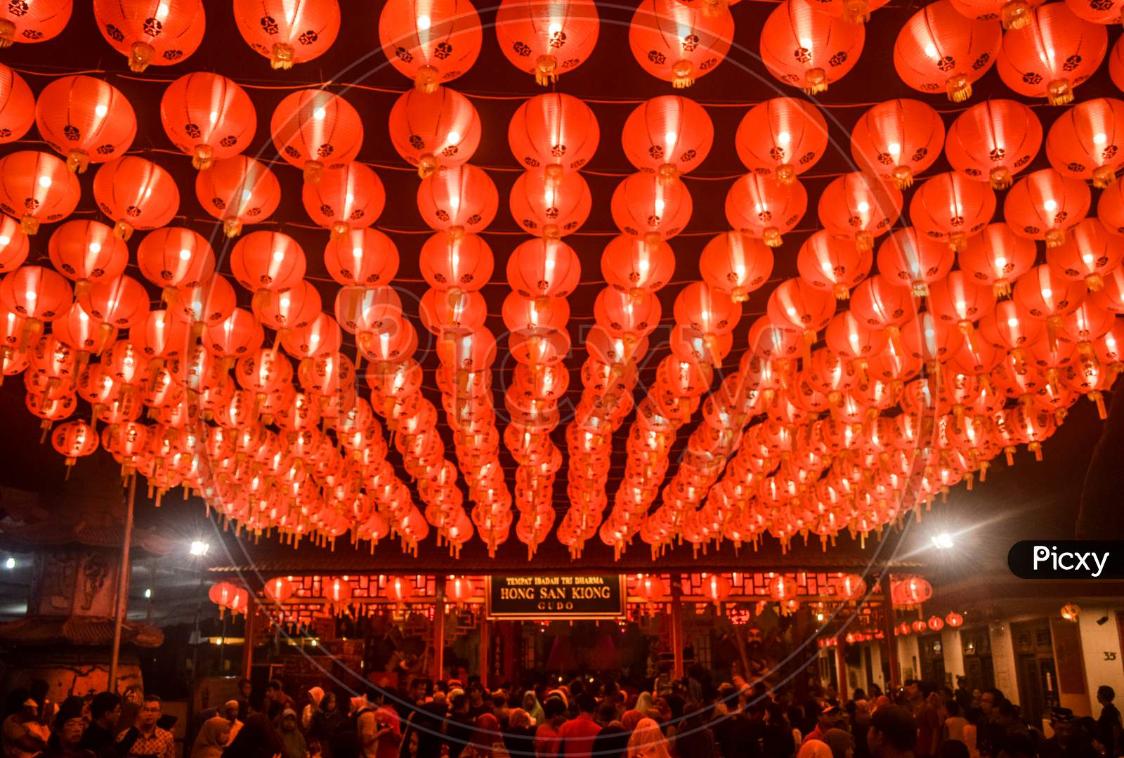 Rows of LAMPION at the Gudo Jombang temple during a celebration event in September 2019