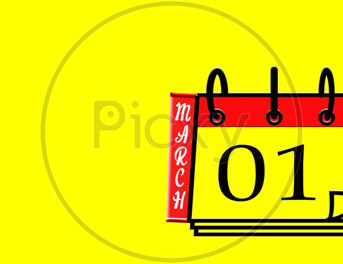 March 01, Calendar On Yellow Background