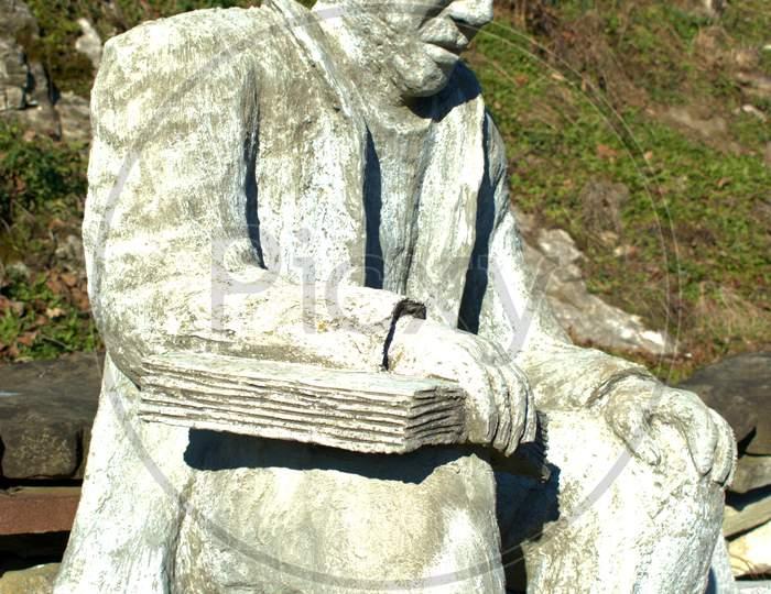 Statue Of An Old Man In Oberriet In Switzerland 11.1.2021