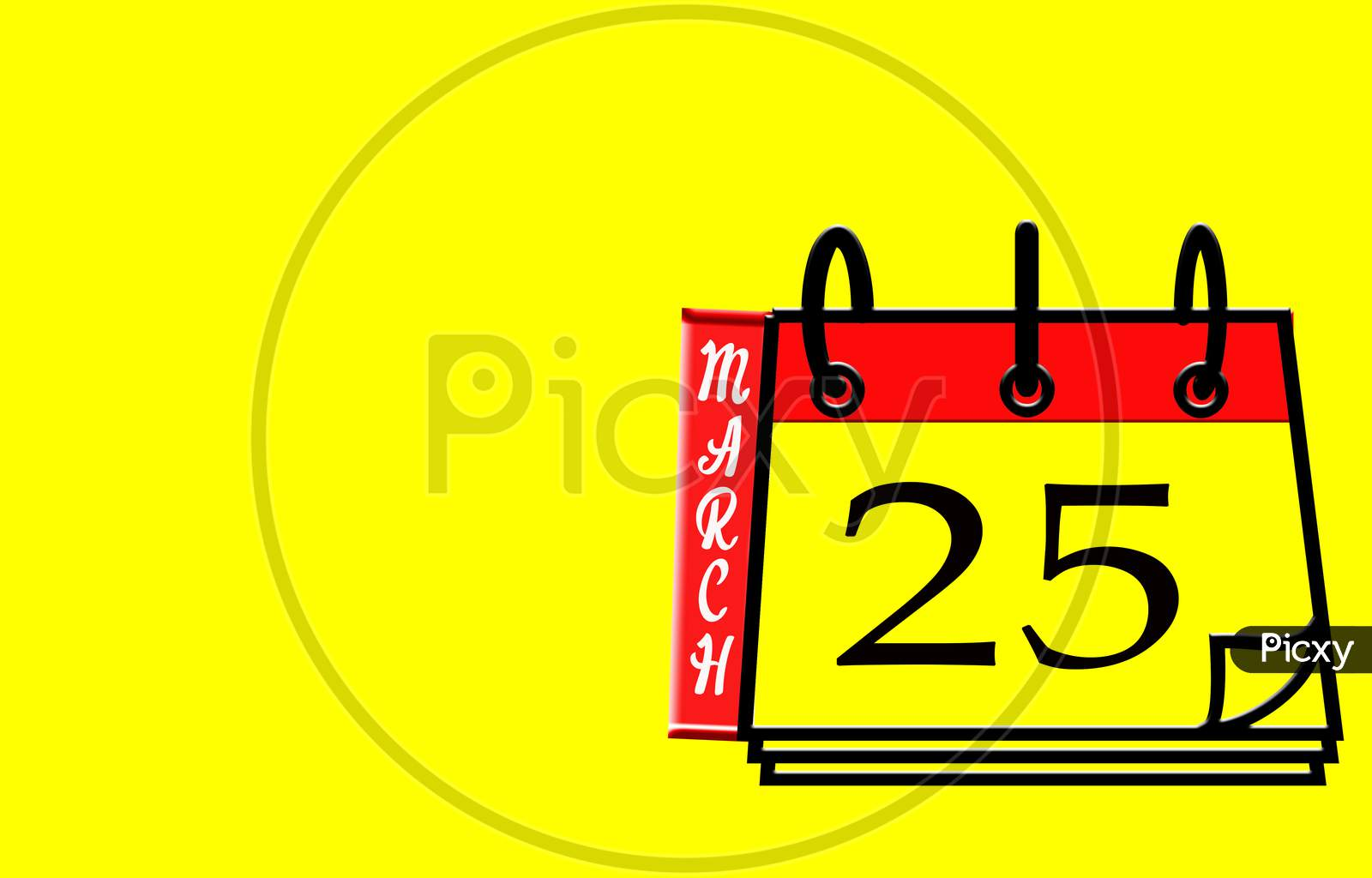 March 25, Calendar On Yellow Background