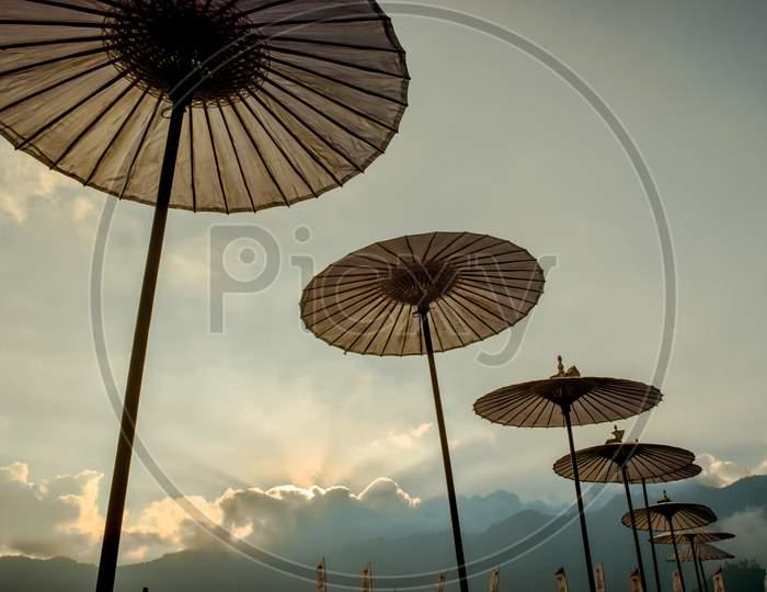 Umbrella,A row of very beautiful ,umbrellas lined up