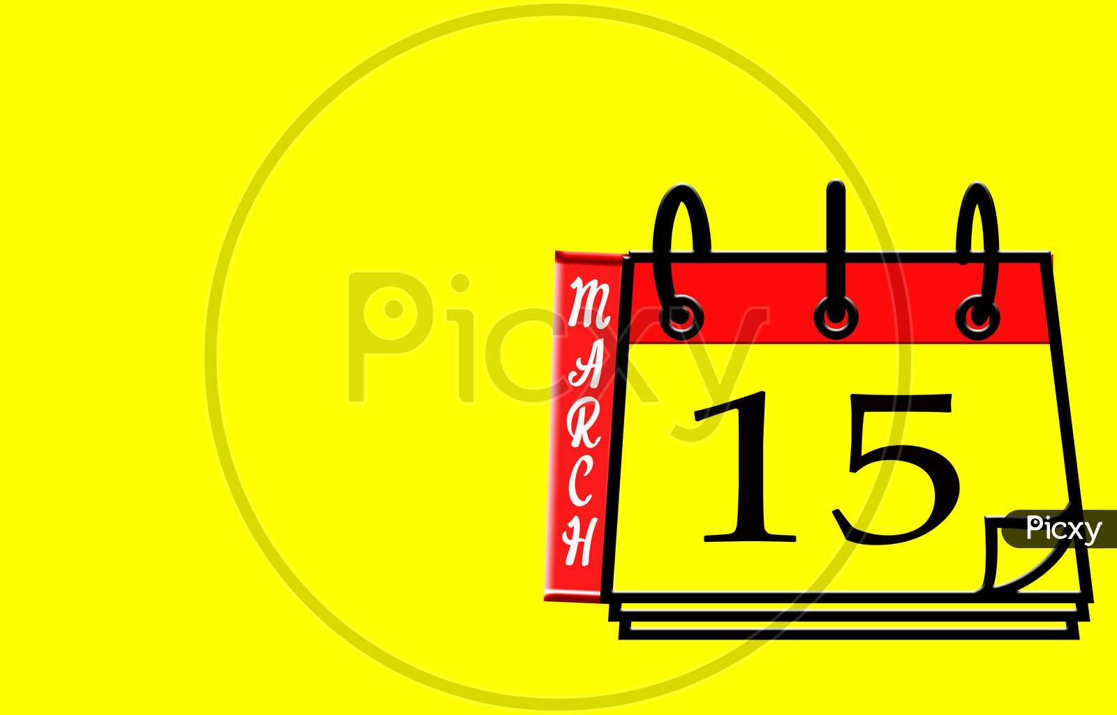 March 15, Calendar On Yellow Background