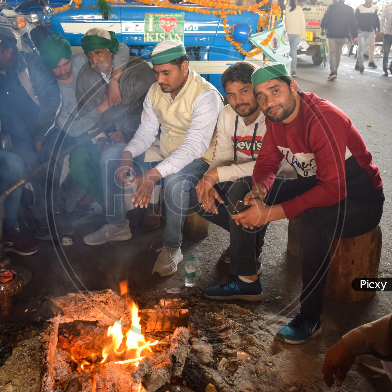 New Delhi, India – December 25 2020 : Indian Sikh And Hindu Farmers From Punjab, Uttar Pradesh And Uttarakhand States Protests At Delhi-Up Border. Farmers Are Protesting Against The New Farmer Laws