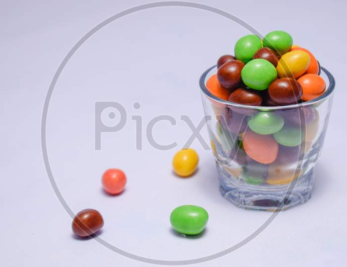 Colorful chocolate candy with a white background
