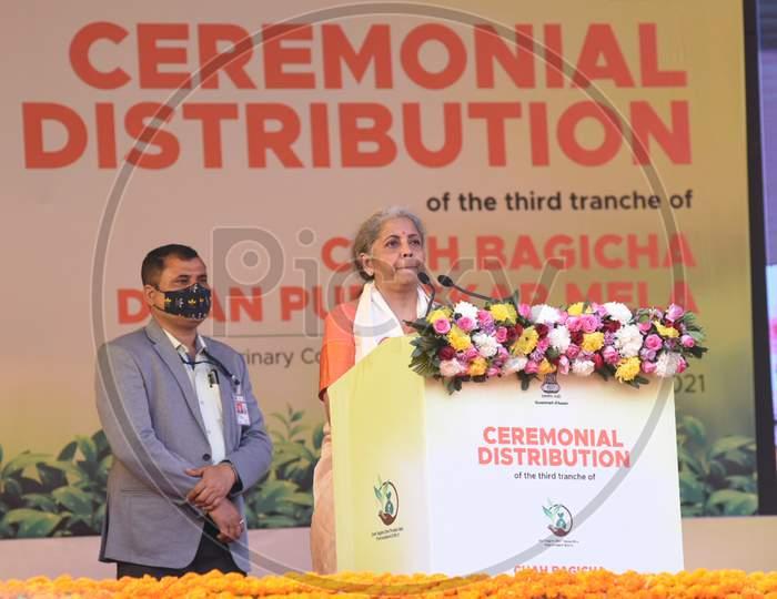 Union Finance Minister Nirmala Sitharaman speaks after launche Chah Bagicha Dhan Puraskar Scheme during the public meeting at Khanapara Veterinary Ground in Guwahati on Saturday, 06 February 2021