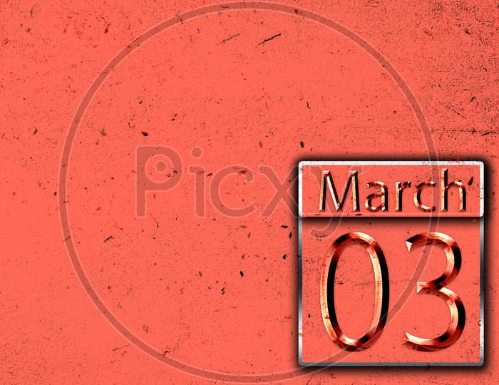 03 March, Monthly Calendar On Backgrand