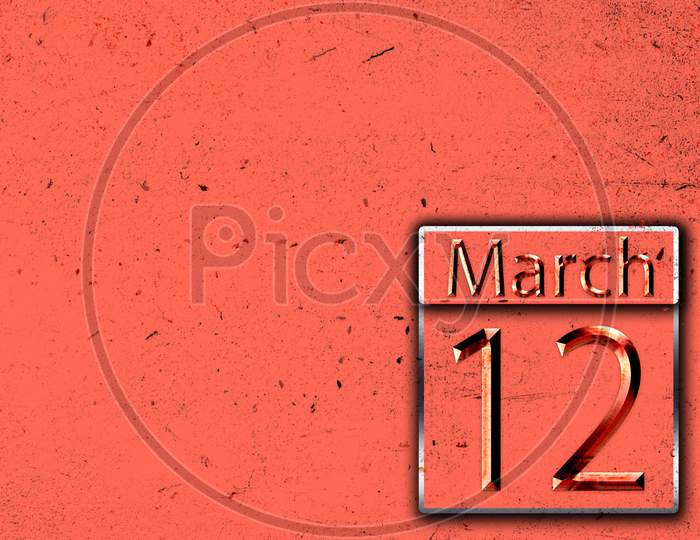 12 March, Monthly Calendar On Backgrand