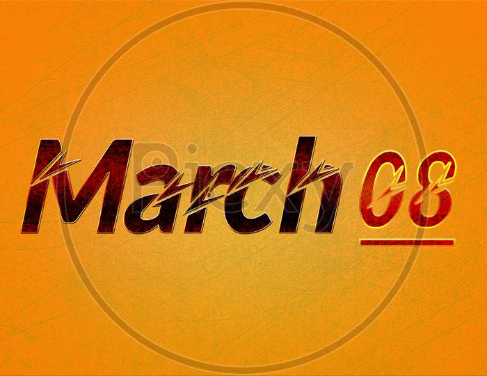 08 March, Monthly Calendar On Yellow Backgrand