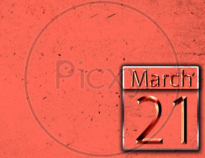 21 March, Monthly Calendar On Backgrand