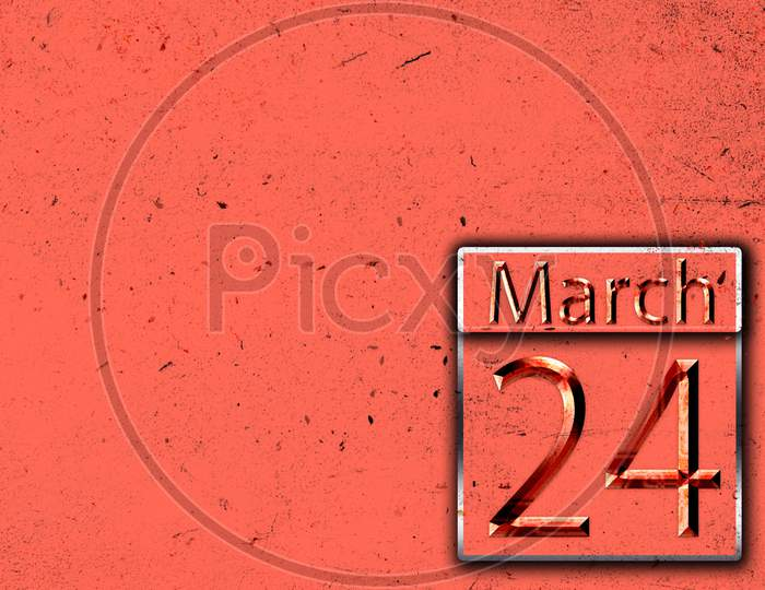 24 March, Monthly Calendar On Backgrand