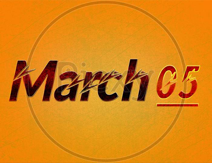 March, Monthly Calendar On Yellow Backgrand