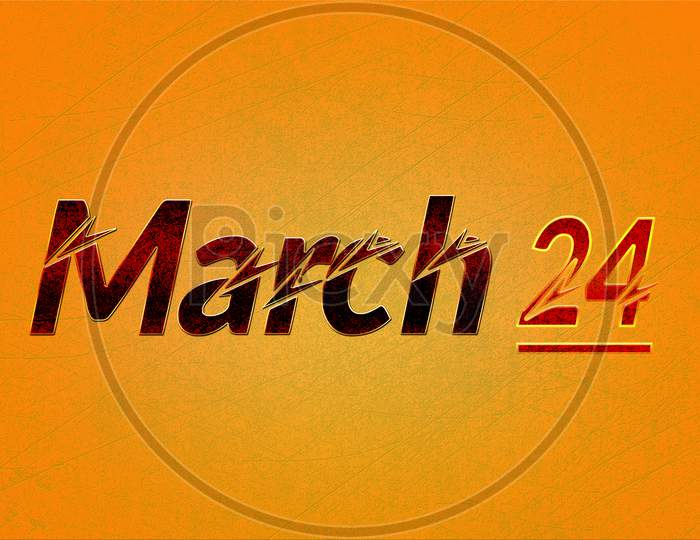24 March, Monthly Calendar On Yellow Backgrand